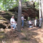 Schwätzje beim Durchblickfels auf dem Dahner Felsenpfad