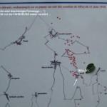 Fernwanderungen in Frankreich; Karte der Schlacht, Belloy
