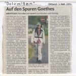 dolomitenzeitung mit Wanderhans auf dem Goetheweg