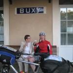 Madame Bürgermeister von Buxy am Bahnhof mit Crémant