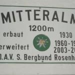 Mitteralm Schild 1200 m
