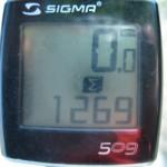 Fahrrad-Tacho Sigma mit 1269 km; Sankt Ingbert -Kopenhagen