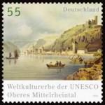 """Briefmarke vom Weltkulturerbe der Unesco """"Oberes Mittelrheintal"""", 55 (was?)"""