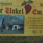 Unkel am Rheinsteig, Weingut Werner Unkel, Schild sam Rheinsteig