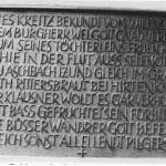 Gusstafel mit Historie der Burg Wileinstein im Karlstal bei Kaiserslautern