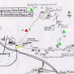 Wanderung zur Burgruine Lemberg mit Wegeskizze